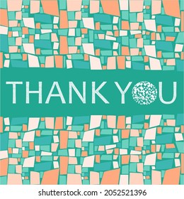 Mosaic background thank you card design