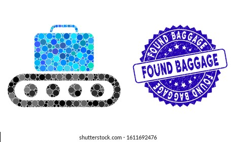 Mosaic baggage conveyor icon and grunge stamp seal with Found Baggage caption. Mosaic vector is designed with baggage conveyor icon and with random spheric spots. Found Baggage stamp uses blue color,