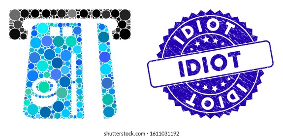 Mosaic bank ATM icon and distressed stamp seal with Idiot text. Mosaic vector is created with bank ATM icon and with random spheric spots. Idiot stamp seal uses blue color, and dirty texture.