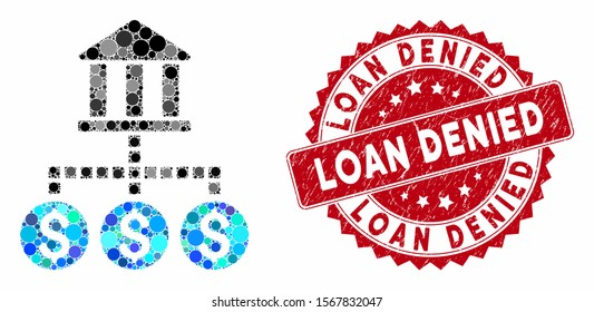 Mosaic bank cashout and rubber stamp seal with Loan Denied phrase. Mosaic vector is composed with bank cashout icon and with scattered spheric elements. Loan Denied stamp seal uses red color,