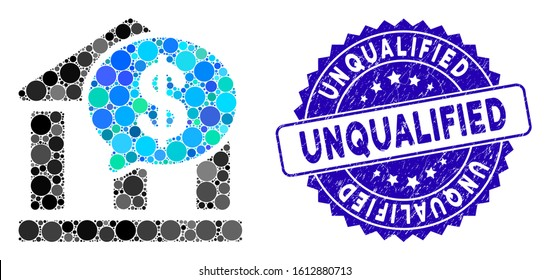 Mosaic bank message icon and distressed stamp seal with Unqualified caption. Mosaic vector is composed with bank message icon and with random circle elements. Unqualified stamp seal uses blue color,