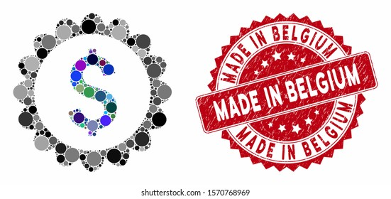 Mosaic banking stamp and distressed stamp seal with Made in Belgium phrase. Mosaic vector is designed with banking stamp icon and with random circle elements.