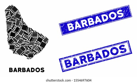 Mosaic Barbados map and rectangle seal stamps. Flat vector Barbados map mosaic of random rotated rectangular items. Blue caption seal stamps with grunge textures.
