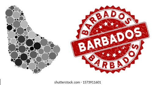Mosaic Barbados map and round seal stamp. Flat vector Barbados map mosaic of randomized round items. Red stamp with grunged design. Designed for political and patriotic agitprop.