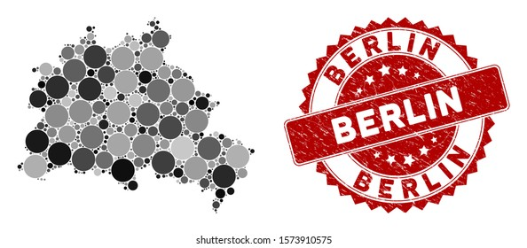 Mosaic Berlin City map and circle seal stamp. Flat vector Berlin City map mosaic of scattered spheric items. Red seal stamp with distress texture. Designed for political and patriotic projects.