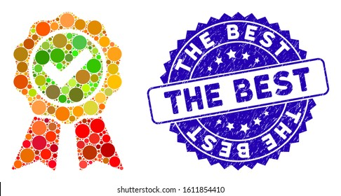Mosaic the best icon and rubber stamp seal with The Best phrase. Mosaic vector is formed with the best icon and with scattered circle items. The Best stamp seal uses blue color, and grunged texture.