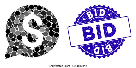 Mosaic bid icon and grunge stamp seal with Bid caption. Mosaic vector is formed with bid pictogram and with randomized circle elements. Bid stamp seal uses blue color, and grunge surface.