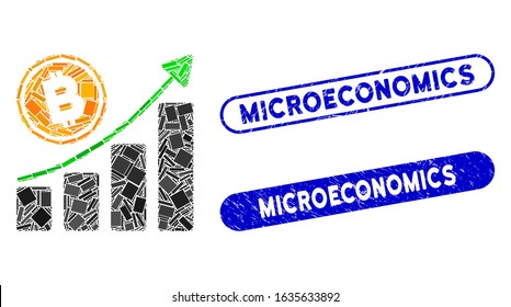 Mosaic Bitcoin growth trend and grunge stamp seals with Microeconomics phrase. Mosaic vector Bitcoin growth trend is formed with random rectangles. Microeconomics stamp seals use blue color,