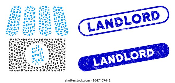 Mosaic Bitcoin shop and rubber stamp seals with Landlord phrase. Mosaic vector Bitcoin shop is designed with randomized ellipse dots. Landlord stamp seals use blue color,