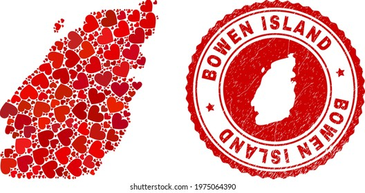 Mosaic Bowen Island map composed with red love hearts, and unclean seal. Vector lovely round red rubber seal imitation with Bowen Island map inside.