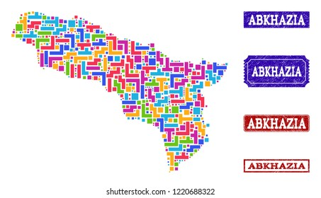 Mosaic brick style map of Abkhazia and rubber rectangle seal stamps. Vector map of Abkhazia constructed with bright colored elements. Vector imprints with distress rubber texture.
