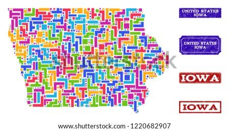 Mosaic Brick Style Map Iowa State Stock Vector (Royalty Free ...