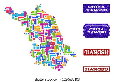 Mosaic brick style Map of Jiangsu Province and unclean rectangle seals. Vector Map of Jiangsu Province designed with colorful blocks. Vector seals with unclean rubber texture.