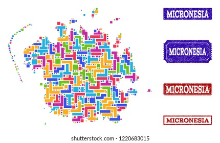 Mosaic brick style map of Micronesia island and grunge rectangle seals. Vector map of Micronesia island constructed with colorful blocks. Vector seals with grunge rubber texture.