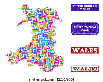 Mosaic brick style map of Wales and unclean rectangle seal stamps. Vector map of Wales designed with bright colored blocks. Vector watermarks with unclean rubber texture.