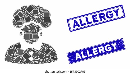 Mosaic brunette woman pictogram and rectangular Allergy seals. Flat vector brunette woman mosaic pictogram of random rotated rectangular items. Blue Allergy stamp imprints with grunge texture.