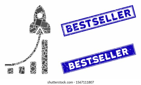 Mosaic business success pictogram and rectangle rubber prints. Flat vector business success mosaic pictogram of random rotated rectangle elements. Blue caption seals with rubber texture.