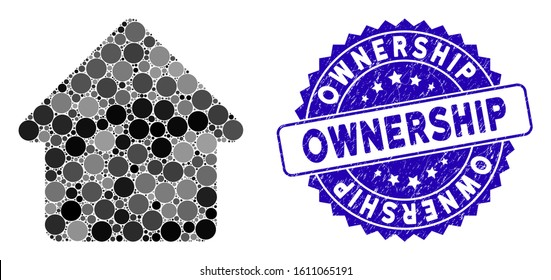 Mosaic cabin icon and corroded stamp watermark with Ownership text. Mosaic vector is composed with cabin icon and with scattered spheric items. Ownership stamp seal uses blue color,