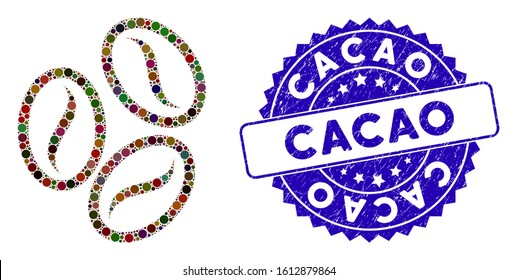 Mosaic cacao beans icon and grunge stamp seal with Cacao phrase. Mosaic vector is created with cacao beans icon and with random circle items. Cacao stamp uses blue color, and distress texture.