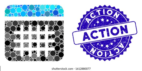 Mosaic calendar icon and grunge stamp seal with Action phrase. Mosaic vector is composed from calendar icon and with scattered spheric items. Action stamp seal uses blue color, and distress design.