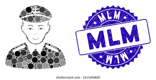 Mosaic captain icon and rubber stamp watermark with Mlm caption. Mosaic vector is formed from captain icon and with random round spots. Mlm stamp seal uses blue color, and rubber design.