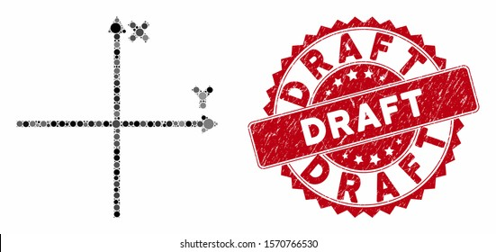 Mosaic cartesian axes and corroded stamp seal with Draft caption. Mosaic vector is created with cartesian axes icon and with random circle items. Draft stamp uses red color, and grunged design.
