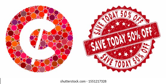 Mosaic cent coin and corroded stamp seal with Save Today 50% Off phrase. Mosaic vector is created with cent coin icon and with randomized circle elements. Save Today 50% Off stamp seal uses red color,