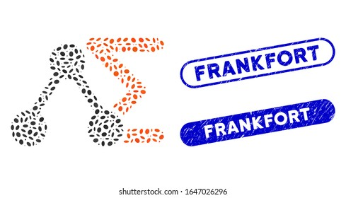 Mosaic chemical analysis and corroded stamp seals with Frankfort text. Mosaic vector chemical analysis is designed with scattered oval spots. Frankfort stamp seals use blue color,
