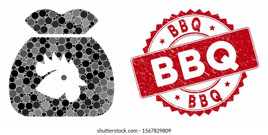 Mosaic chicken food sack and grunge stamp seal with BBQ phrase. Mosaic vector is created from chicken food sack icon and with random circle items. BBQ stamp seal uses red color, and grunge texture.