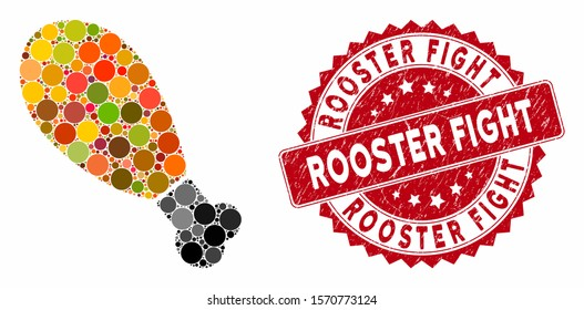 Mosaic chicken leg and rubber stamp seal with Rooster Fight caption. Mosaic vector is created with chicken leg icon and with randomized round items. Rooster Fight stamp seal uses red color,
