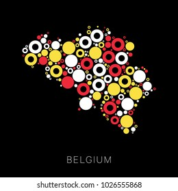 mosaic of circles of different sizes and colors in shape of map of Belgium