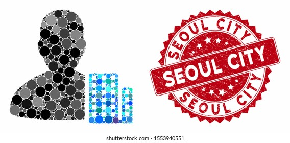 Mosaic city architect and distressed stamp seal with Seoul City caption. Mosaic vector is designed with city architect icon and with randomized spheric spots. Seoul City stamp seal uses red color,