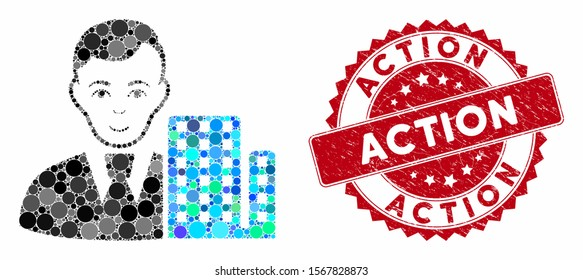 Mosaic city architect and rubber stamp watermark with Action phrase. Mosaic vector is designed with city architect icon and with randomized spheric elements. Action seal uses red color,