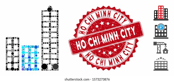Mosaic city icon and grunge stamp seal with Ho Chi Minh City text. Mosaic vector is designed with city icon and with randomized spheric items. Ho Chi Minh City seal uses red color, and grunge surface.