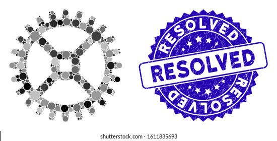 Mosaic clock tooth wheel icon and corroded stamp seal with Resolved phrase. Mosaic vector is designed with clock tooth wheel icon and with randomized round elements. Resolved seal uses blue color,