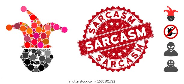 Mosaic clown head icon and rubber stamp watermark with Sarcasm caption. Mosaic vector is designed with clown head icon and with randomized round elements. Sarcasm stamp seal uses red color,
