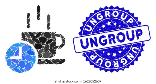 Mosaic coffee break icon and corroded stamp seal with Ungroup text. Mosaic vector is designed with coffee break pictogram and with scattered oval items. Ungroup stamp seal uses blue color,