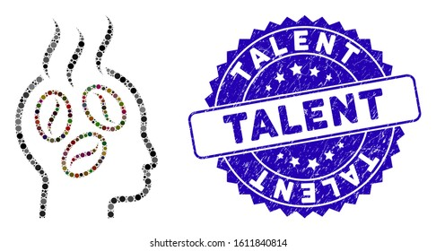 Mosaic coffee dreams head icon and corroded stamp seal with Talent caption. Mosaic vector is designed from coffee dreams head icon and with scattered circle spots. Talent stamp seal uses blue color,