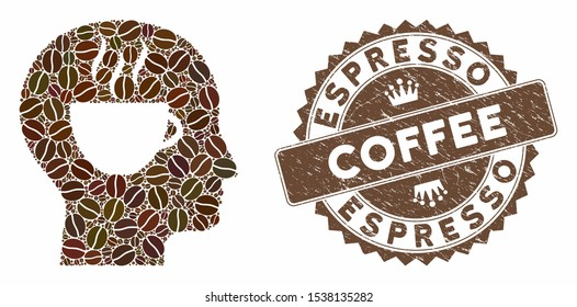 Mosaic coffee thinking and grunge stamp watermark with Espresso Coffee text. Mosaic vector coffee thinking is designed with seeds. Espresso Coffee stamp uses brown color.