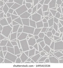 Mosaic composed of different polygonal pieces in shades of gray. Tile. Wall. Flagstone. Paving. Floor. Vector illustration.