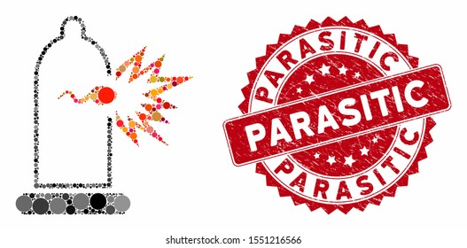 Mosaic condom sperm escape and grunge stamp watermark with Parasitic phrase. Mosaic vector is designed with condom sperm escape icon and with scattered spheric spots. Parasitic stamp uses red color,
