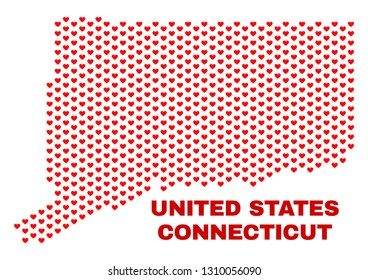 Mosaic Connecticut State map of heart hearts in red color isolated on a white background. Regular red heart pattern in shape of Connecticut State map. Abstract design for Valentine decoration.