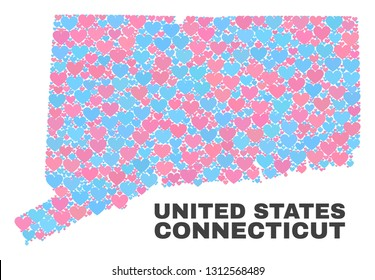 Mosaic Connecticut State map of love hearts in pink and blue colors isolated on a white background. Lovely heart collage in shape of Connecticut State map. Abstract design for Valentine illustrations.