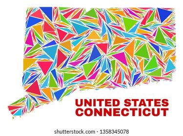 Mosaic Connecticut State map of triangles in bright colors isolated on a white background. Triangular collage in shape of Connecticut State map. Abstract design for patriotic purposes.
