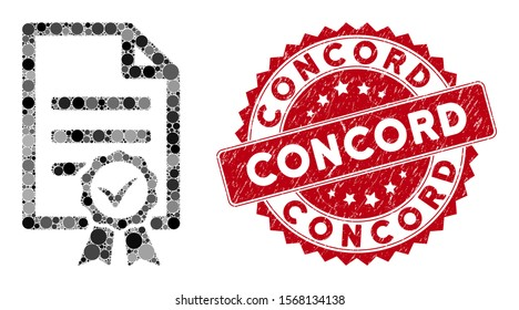 Mosaic contract document and grunge stamp seal with Concord text. Mosaic vector is composed with contract document icon and with random spheric items. Concord stamp seal uses red color,