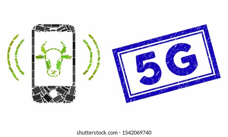 Mosaic cow mobile control and rubber stamp seal with 5G phrase. Mosaic vector cow mobile control is composed with random rectangle items. 5G stamp uses blue color.