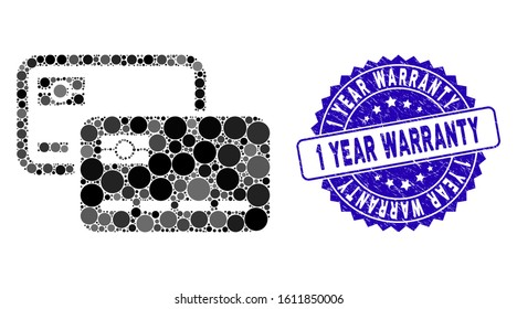 Mosaic credit cards icon and distressed stamp seal with 1 Year Warranty caption. Mosaic vector is designed with credit cards icon and with randomized round spots.