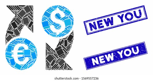 Mosaic currency change icon and rectangular stamps. Flat vector currency change mosaic pictogram of random rotated rectangular items. Blue caption rubber stamps with distress texture.