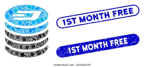 Mosaic Dash coin stack and distressed stamp seals with 1St Month Free text. Mosaic vector Dash coin stack is created with randomized rectangle items. 1St Month Free stamp seals use blue color,