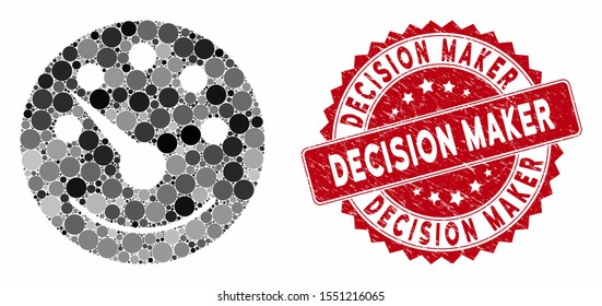 Mosaic dashboard and rubber stamp seal with Decision Maker caption. Mosaic vector is designed from dashboard icon and with randomized round spots. Decision Maker stamp seal uses red color,